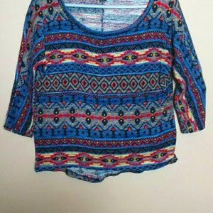 3/4 Sleeve Colorful Aztec Lightweight Sweater - S